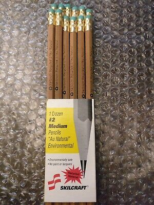 "Set of 12 Skilcraft New Writing Pencils ""Au Natural"" #2 Medium Lead Made in USA"