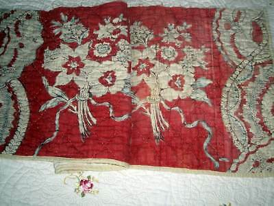 A BEAUTIFUL ANTIQUE FRENCH FLORAL TOILE DE JOUY PANEL RED. ca. 1780