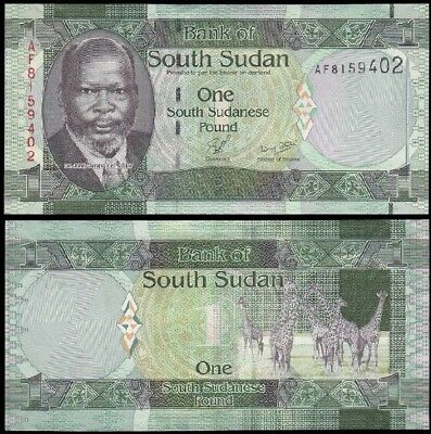 SOUTH SUDAN 🇸🇸 1 Pound, 2011, P-5, UNC World Currency Banknote