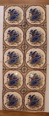 Reproduction Victorian fireplace tiles - 10 tiles - Blue Poppies