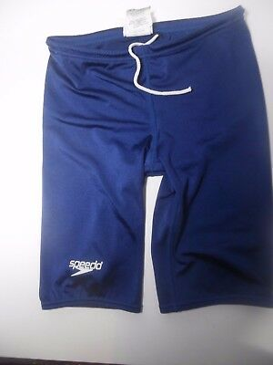 Speedo Boys Learn-To-Swim Jammer Swimsuit Pants- Sz 28- Navy- Stretch-Drawstring