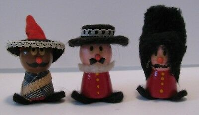 Kellogg's LITTLE PEOPLE  British and Mexican Wood Felt Toy Doll Figure
