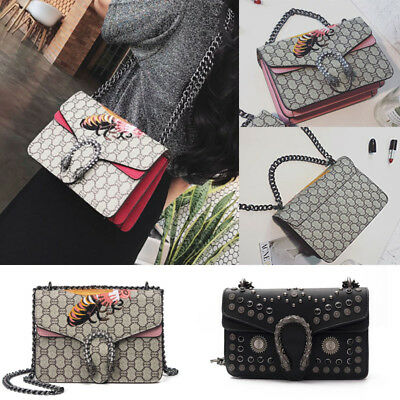New Womnes fashion embroidery Messenger bag ladies tiger head shoulder Bag Chain