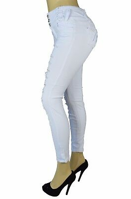 High Waist Stretch Push-Up colombian style Levanta Cola skinny jeans White 719W