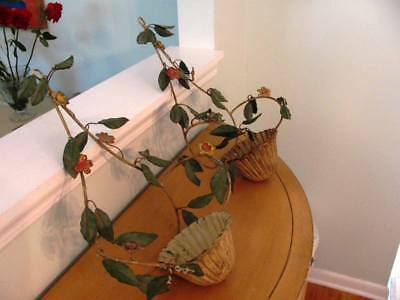 Vintage Pr Shabby garden Chic tole Painted metal flower Basket planter sconces
