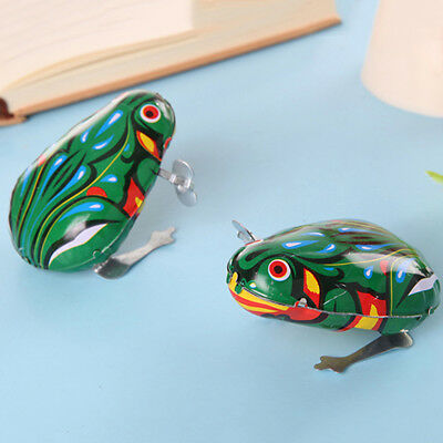 BU_ Kids Classic Wind Up Clockwork Toy Jumping Frog Children Boys Educational Un