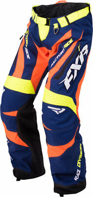 FXR Mens Navy Blue/Orange/Hi-Vis Yellow Cold Cross Race Ready Snow Shell Pants