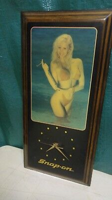 Vintage Snap-On Sexy Blonde Pinup Girl Holding a Wrench Wall Clock - Works fine.