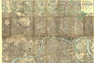Nachdruck: Original Bacon's New Map of London 1895 - DIN A1