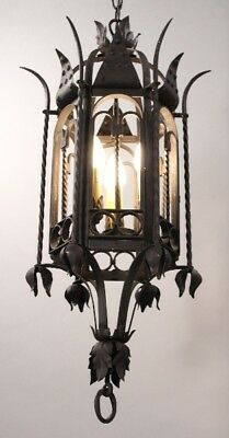 Antique Gothic 1920's Large Scale Spanish Revival Detailed Chandelier (10576)