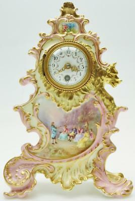 Antique French 8 Day Sevres Porcelain Mantle/Carriage Clock Platform Escapement