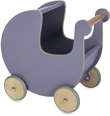 SEBRA Purple Wooden Quality Doll Pram / Pushchair - Kids Pretend Play rrp £120