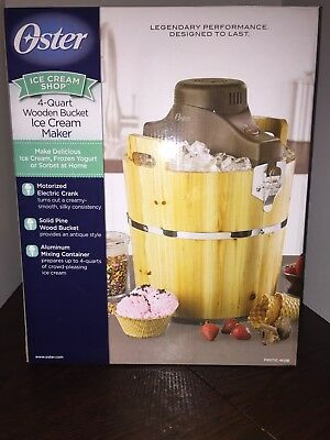 Oster 4 Quart Wood Bucket Electric Ice Cream Maker New Frozen Sorbet Yogurt