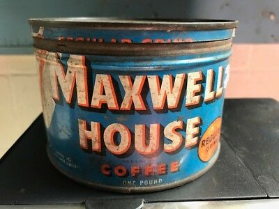 Vintage Maxwell House Coffee Tin, 1 pound, Can Open Blue Good to the last drop