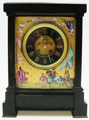 Antique French 8 Day Hand Painted Decorated Slate Mantel Clock Knight Theme
