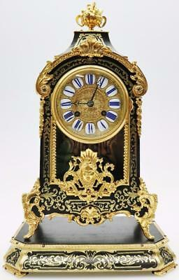 Antique French 8 Day Shell & Bronze Boulle Inlaid Bracket Clock On Original Base