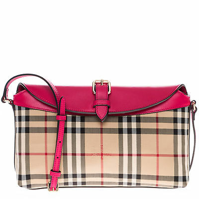 af792303b2ee BURBERRY WOMEN S HORSEFERRY Check Small Leah Clutch Bag Honey Tan ...