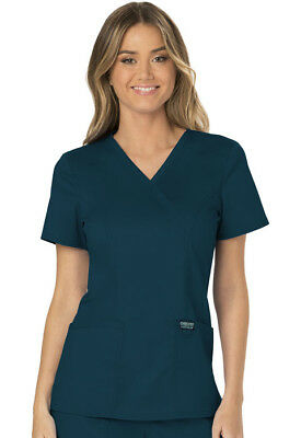 Cherokee Workwear Scrubs Mock Wrap Top WW610 CAR Caribbean Blue Free Shipping