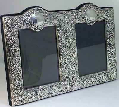 Vintage hallmarked Sterling Silver-fronted 28cm x 19cm Double Photo Frame - 2000