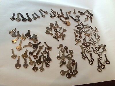 Genuine True Vtg Antique old skeleton pass keys lot cabinet barrel lock ornate