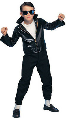 Boys Greaser Costume Black Leather Jacket Punk 50s Grease Danny Glasses Child