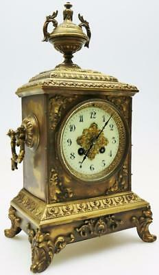 Antique French Cubed 8 Day Bronze Mantel Clock Original Carved Urn Mantle Clock