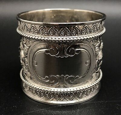 Antique Wood & Hughes Wide Solid STERLING Silver Napkin Ring, Engraved (RF703)