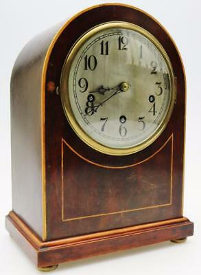 Mahogany Musical Chiming Bracket Clock Westminster Chime 5 Gongs Mantel Clock