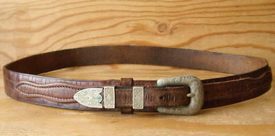 Vtg Original Texas Ranger Brown Tooled Leather Western Cowboy Belt & Buckle 36