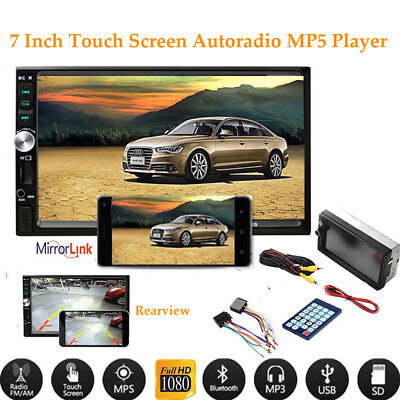 "7""2DIN Coche Radio MP5 Player Bluetooth pantalla táctil Estéreo Headunit AUX USB"