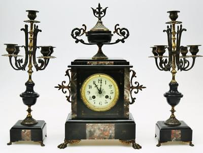 Antique French 8 Day Marble/Slate & Ormolu Clock Original Striking Mantel Clock