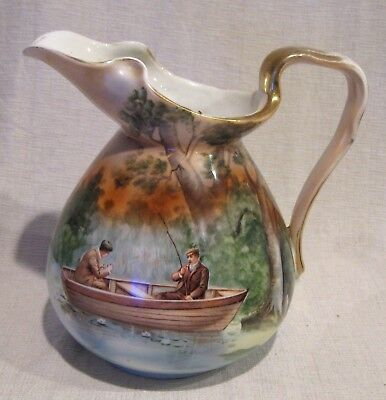 """Royal Bayreuth 8"""" Pitcher with Men Fishing"""