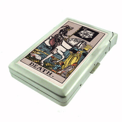 Tarot Card XIII D14 Cigarette Case with Built in Lighter Metal Wallet Death