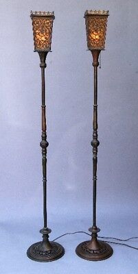 Antique Pair of Signed Oscar Bach Mica Bronze Torchieres Spanish Revival (10568)
