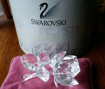 Swarovski Silver Crystal Rose Figurine Retired - Mint Cond w/ Box & Certificate