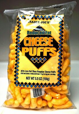 New Sealed Exclusive Trader Joe's Reduced Fat Cheese Puffs 5.5 Oz 45% Less Fat