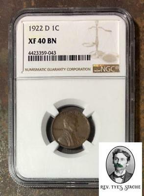 1922 D Lincoln Cent NGC XF40 BN  ***Rev. Tye's Stache*** #904345