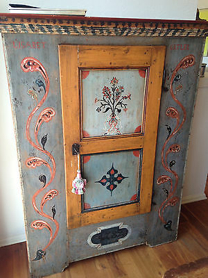 """Antique Swiss 18th c. """"Berner Obernland"""" Painted Marriage Amoire"""