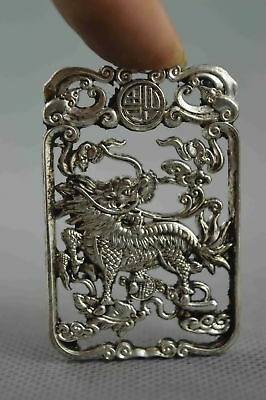 Collectable Handmade Decor Miao Silver Carve Kylin Bite Wealthy Exorcism Pendant