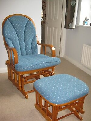 Cushioned wooden nursing chair with stool