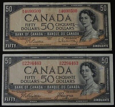 2x 1954 Bank of Canada Notes 1 Devil's Face 1 Modified