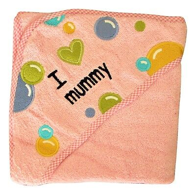 100% Soft Combed Cotton Baby Hooded Printed Bath Towel Pink Colour