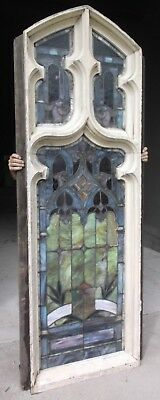 "Large STAINED GLASS CHURCH WINDOW - approx. 34"" x 93"""