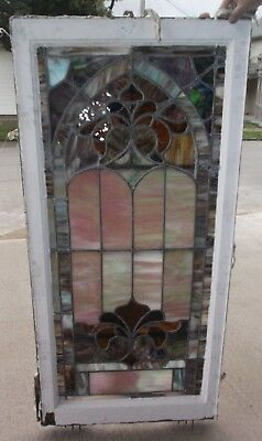 "Set of 4 STAINED GLASS CHURCH WINDOWS - approx. 26"" x 54"""
