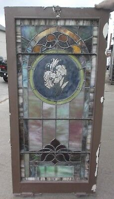 "STAINED GLASS CHURCH WINDOW - Lily - approx. 26"" x 54"""
