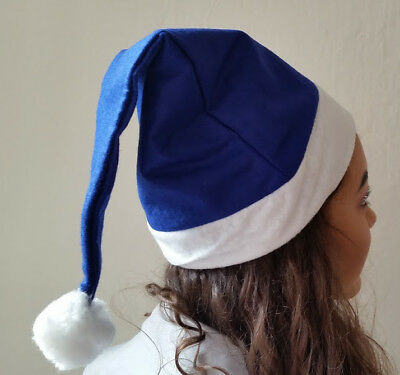 Blue and White Chelsea Everton QPR Birmingham Football Fan Santa Hat Christmas