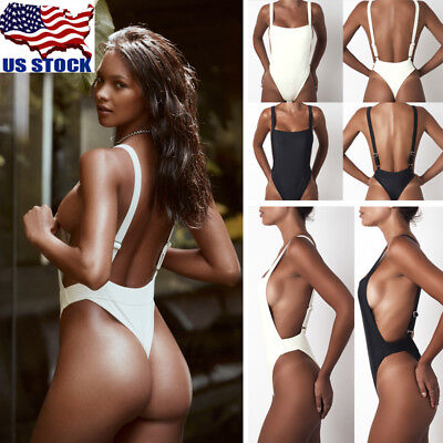 Lady High Cut One Piece Bikini Thong Swimsuit Monokini Swimwear Leotard Bodysuit