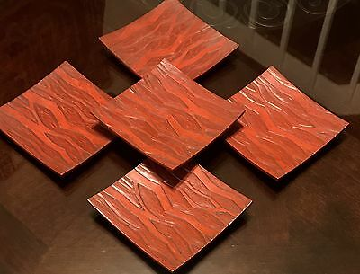 Vintage Asian Oriental Japanese Faux Cinnabar Red Wood Saucers Plates Decor