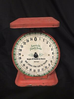 Vintage Red 1906 model American Family 25 lb Scale