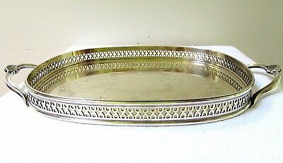 Vintage Silverplate Gallery Tray Serving Butler England Chased Display Shell